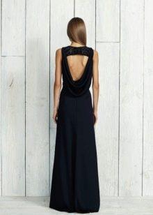 Черное платье с открытой спиной длинное