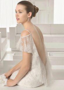 Белое платье с открытой спиной с бахрамой