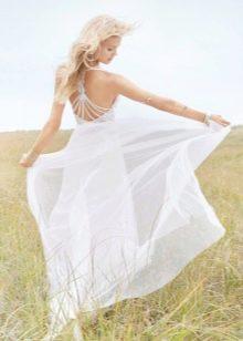 Свадебное платье с открытой спиной летнее