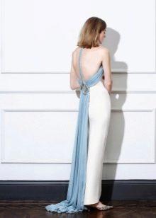 Прямое платье с открытой спиной белое
