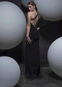 Платье с открытой спиной черное прямое