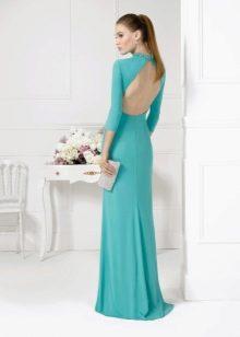 Бирюзовое платье с открытой спиной