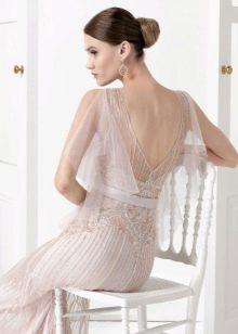 Платье с открытой спиной с прозрачным рукавом