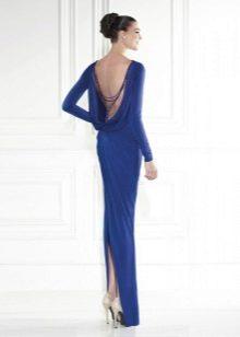 Платье с открытой спиной и разрезом синее