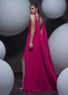 Платье с открытой спиной и разрезом красное
