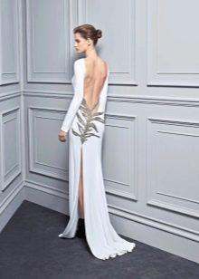 Платье с открытой спиной и разрезом белое
