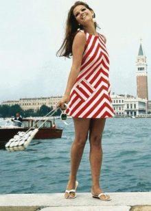 Платье в стиле 60-х в полоску
