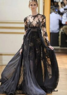 Платье в стиле ампир вечернее с кружевом