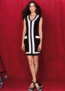 Платье  в стиле ретро черно-белое