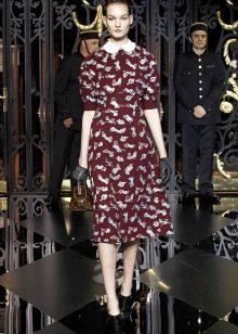 Платье в стиле 40-х с воротником расклешенное