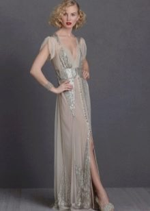 Платье в стиле ретро с разрезом