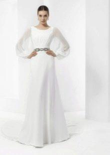 Подвенечное платье простое с широкими рукавами