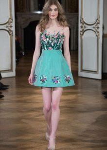 Приталенное платье бирюзовое