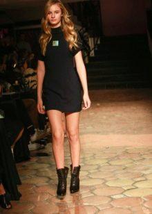 Приталенное  платье трикотажное черное