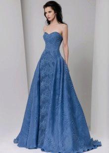 Приталенное  платье синее