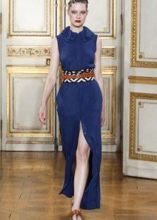 Приталенное  платье синее с разрезом