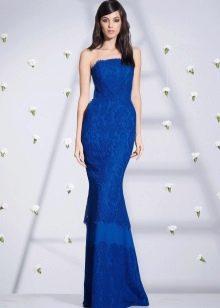 Приталенное  платье синее русалка