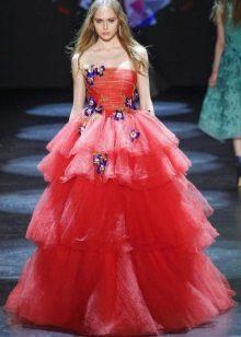 Приталенное  платье на выпускной пышное многоярусное