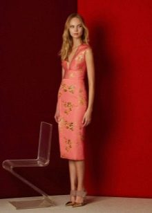 Приталенное  платье розовое