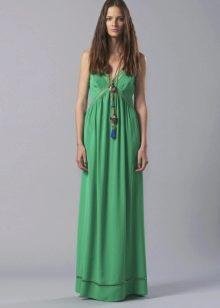 Приталенное  платье в пол зеленое