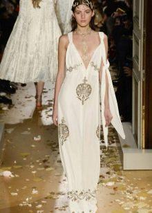 Приталенное расклешенное платье греческое