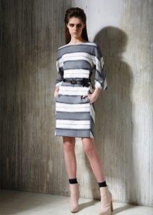 Приталенное платье короткое в полоску