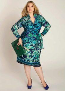 Приталенное  платье для полных цветное