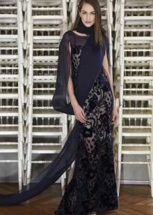Приталенное  платье кружевное в пол