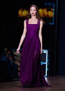 Приталенное  платье кружевное фиолетовое