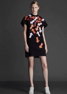Зимнее платье-туника с коротким рукавом