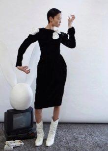 Зимнее платье черное прямое