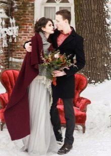 Зимнее платье свадебное серое