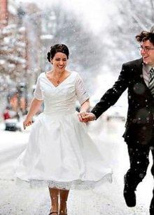 Зимнее платье свадебное короткое