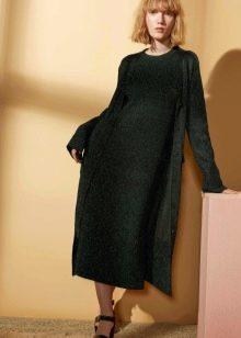 Зимнее платье зеленое