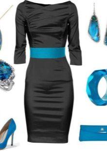 Синие украшения к черному платью