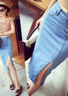 Джинсовая юбка карандаш ниже колена