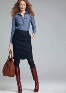 темная джинсовая юбка карандаш