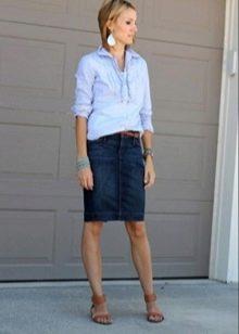 джинсовая юбка карандаш на жаркую погоду