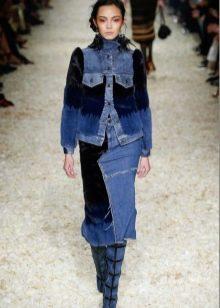 комбинированная джинсовая юбка карандаш