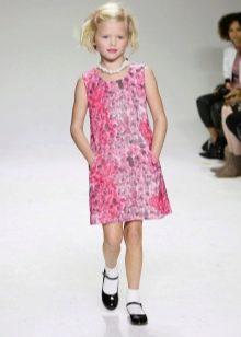 Нарядное платье для девочек прямое розовое