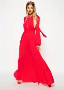 Платье в пол с рукавами красное