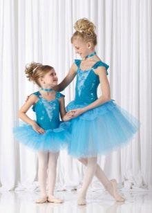 Платье-пачка короткое для девочки голубое