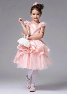 Пышное короткое платье для девочки розовое
