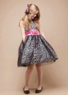 Платье в стиле ретро короткое для девочки с кружевом