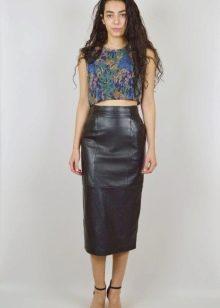 Черная кожаная юбка карандаш с завышенной талией