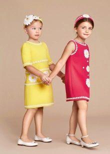 Летнее прямое платье для девочки 5-8 лет
