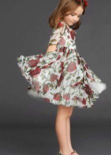 Летнее платье для девочки с принтом шифоновое