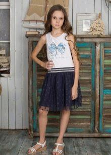 Летнее платье для девочки 5-8 лет бело-синее