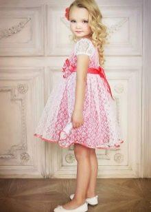 Летнее нарядное платье с кружевом для девочек