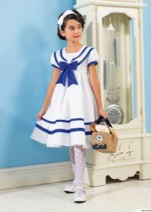 Летнее платье для девочки в морском стиле пышное